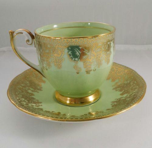 Vintage Queen Anne Green Gold chintz Demitasse Coffee Teacup England