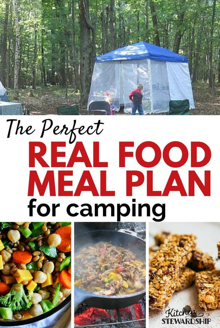Looking for some easy, real food recipes for camping? Here's a great camping meal plan that includes real food!