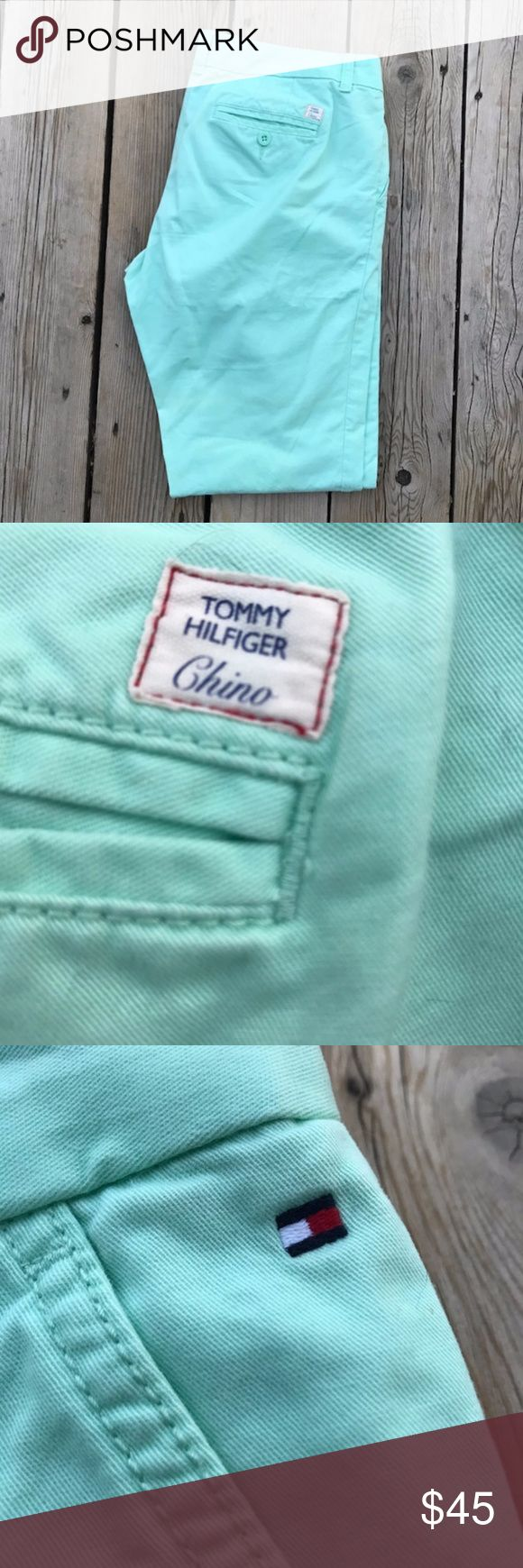 "Tommy Hilfiger Chino Women's Capris--Mint--Size 8 Tommy Hilfiger women's capris in mint green. Size 8, inseam is 29 1/2"" long. Tommy Hilfiger Pants Capris"