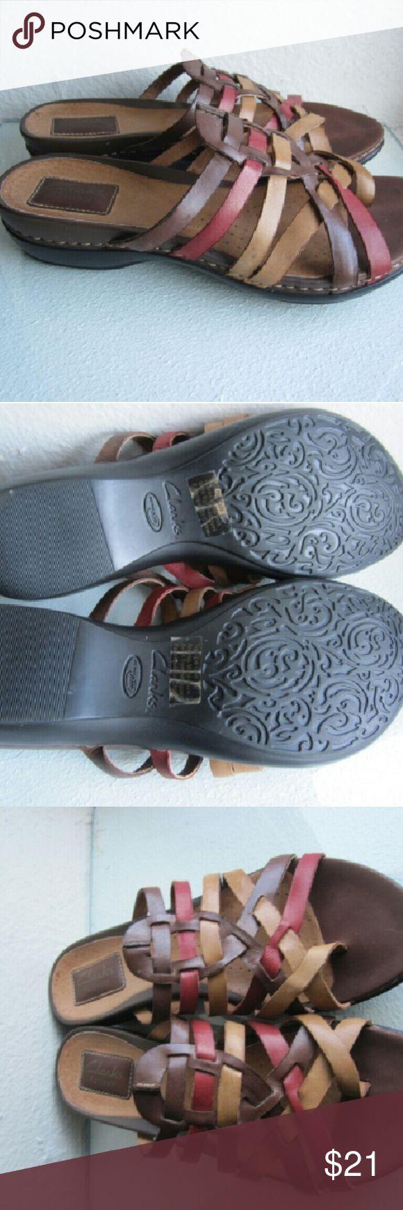 Clark's 9 Artisan slide sandals Multicolored brown leather minimal wear Clarks Shoes Sandals