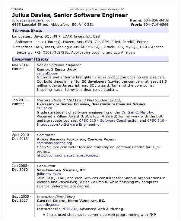 Software Engineer Resume Objectives New Software Engineer Resume Example 15 Free Word P Resume Software Engineering Resume Templates Best Free Resume Templates