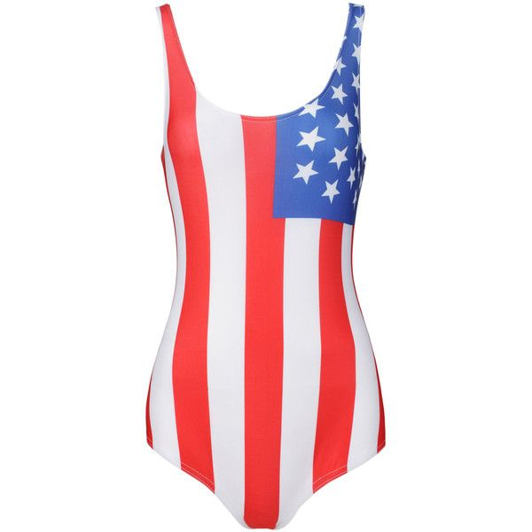 Multicolor American Flag Print Low Back Swimsuit (£17) ❤ liked on Polyvore featuring swimwear, one-piece swimsuits, low back bathing suit, swim costume, swim wear, low back swimsuit and colorful swimsuits