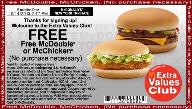 FREE McDonald's McDouble or McChicken - #freebie #free #freefood
