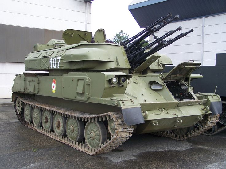 "The ZSU-23-4 ""Shilka"" is a lightly armored Soviet self-propelled, radar guided anti-aircraft weapon system (SPAAG)"