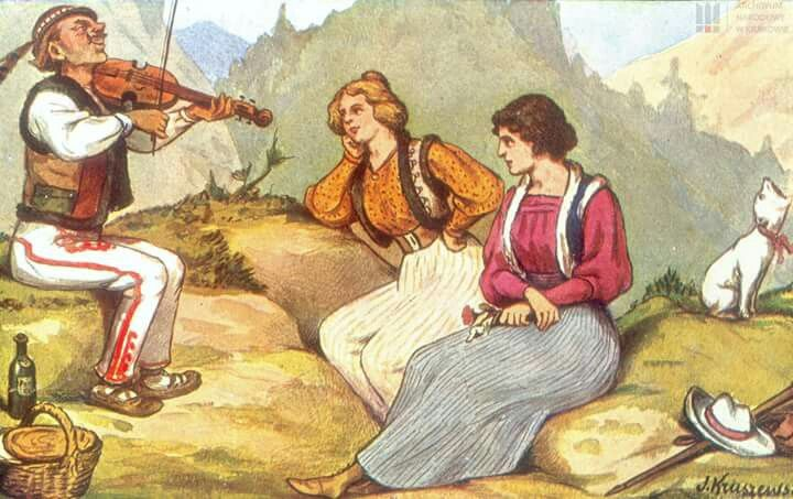 Góral gra na skrzypkach