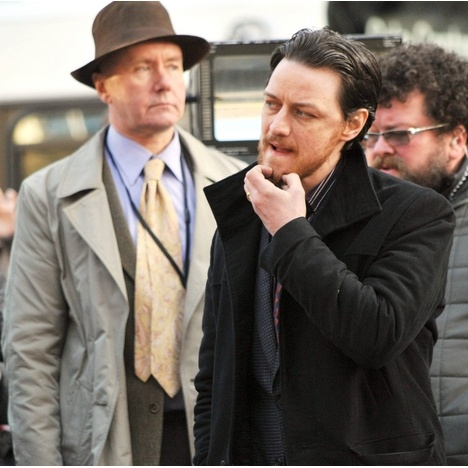 "James McAvoy was snapped on the set of his film, ""Filth,"" in Edinburgh, Scotland."