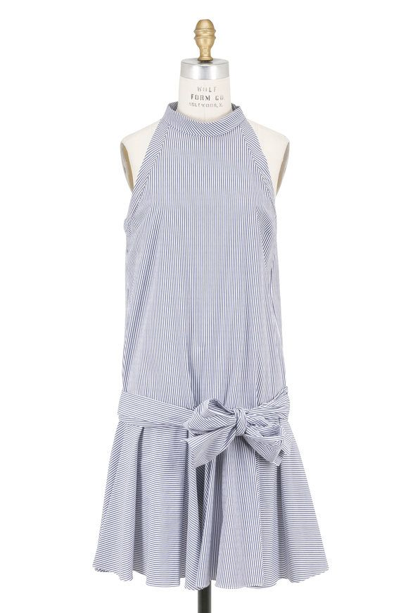 Brunello Cucinelli Blue & White Cotton Striped Drop Waist Dress