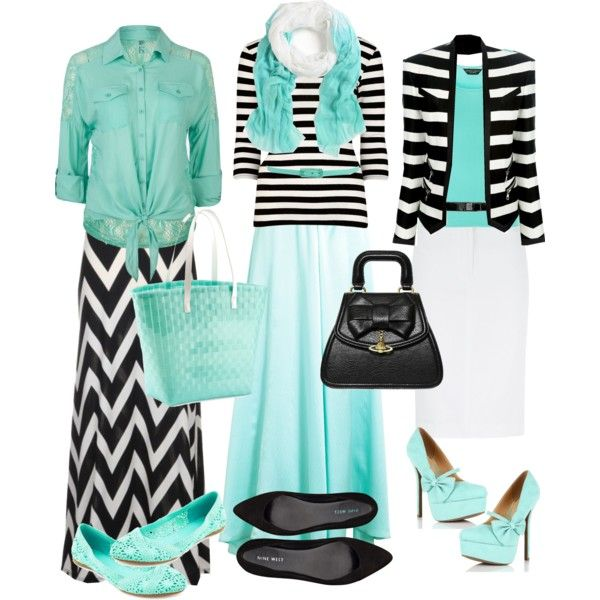 """""""Black/White/Aqua"""" by modestlyme97 on Polyvore. Beautiful colors and style. Aqua and mint are again popular colors for spring and summer."""