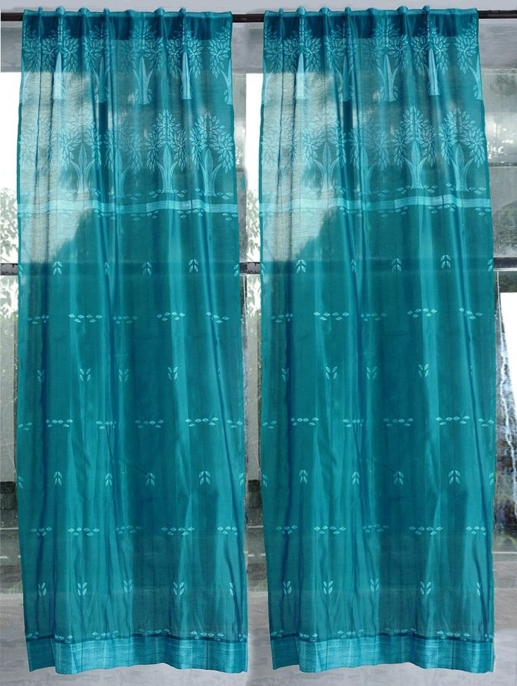 Teal Shibori Chanderi Silk Curtain – 7ft