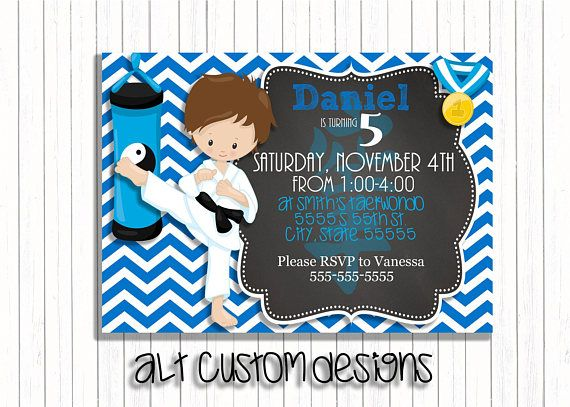 Check out this item in my Etsy shop https://www.etsy.com/listing/568459213/karate-birthday-party-invitations-boy