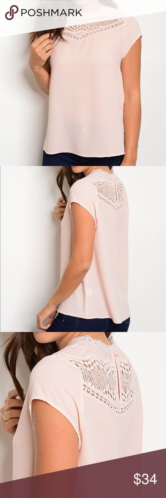 ✨NEW✨Pink Lace Crochet Short Sleeve Blouse Rounded neckline with short sleeves and a lace inset detail in the front and back. 100% cotton. Tops Blouses