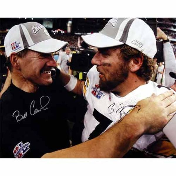 """Ben Roethlisberger, and Bill Cowher Pittsburgh Steelers Fanatics Authentic Autographed 16"""" x 20"""" Super Bowl XL Photograph - $449.99"""