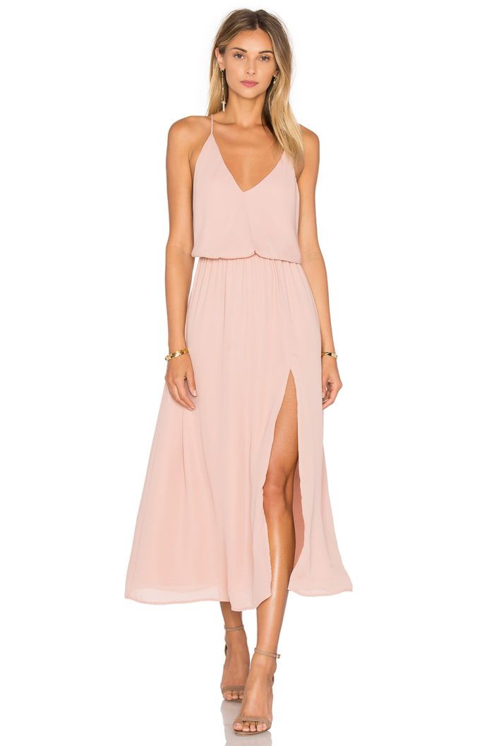 June wedding guest dresses | Pretty peach spaghetti strap dress