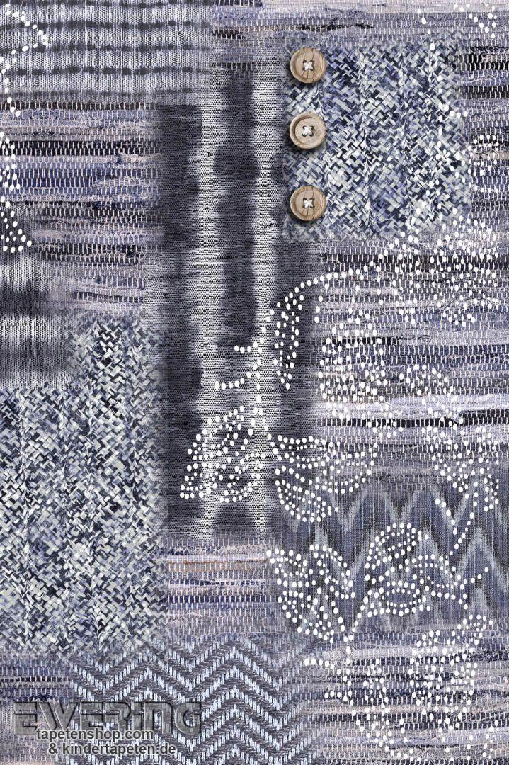 Tapete Casadeco Midnight : BN Tapeten Nomadics 12-30530 blau-grau Wandbild Strick-Optik