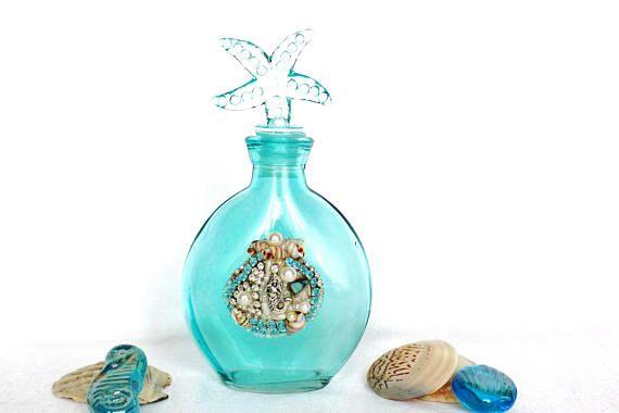 Glasflasche nautisch Seestern Meerjungfrau Muscheln Mosaik