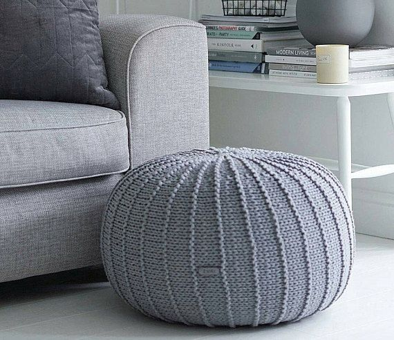 Large Floor Pouf Ottoman Knitted Pouf Knit Pouf Knitted Knitted