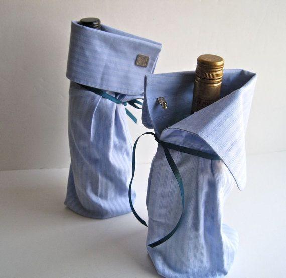 Shirt sleeve wine bottle bag #DIY I love this idea!!