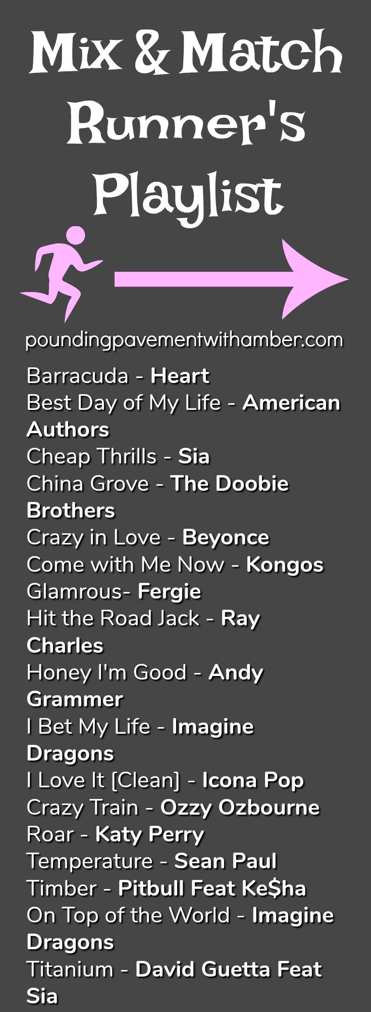 Training for Half or Full Marathons can be a grueling process. Great workout playlists are essential for success! Here is a great start mix and match playlist start. poundingpavementwithamber.com
