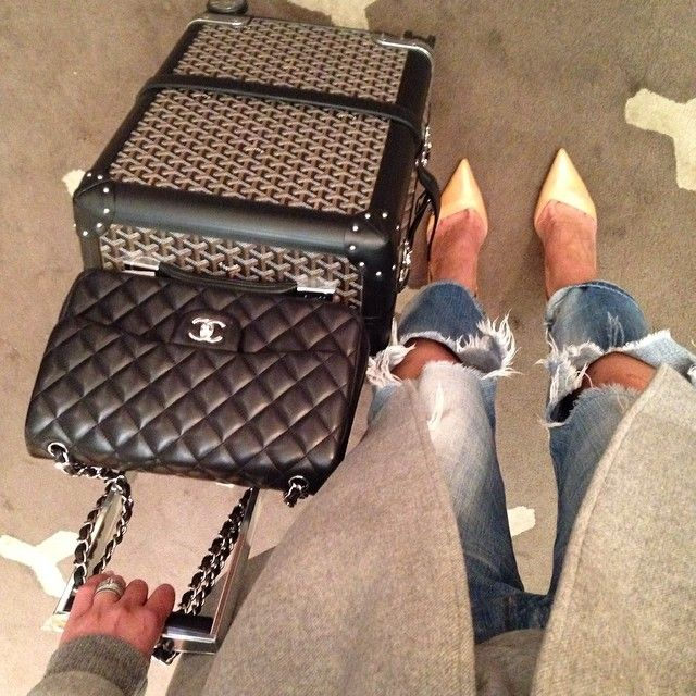 Worlds most expensive carry on but how fabulous @philstaub @ROXY Jacenko #Goyard #Chanel by tashsefton