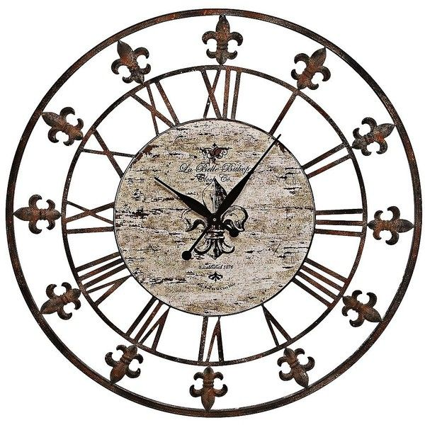 """Universal Lighting and Decor Chartres Rusted Iron 36"""" Round Wall Clock ($120) ❤ liked on Polyvore featuring home, home decor, clocks, backgrounds, brown, iron wall clock, vintage home decor, brown wall clock, iron clock and fleur de lis clock"""