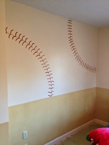 Shared boys sports themed bedroom. Baseball wall.                              …