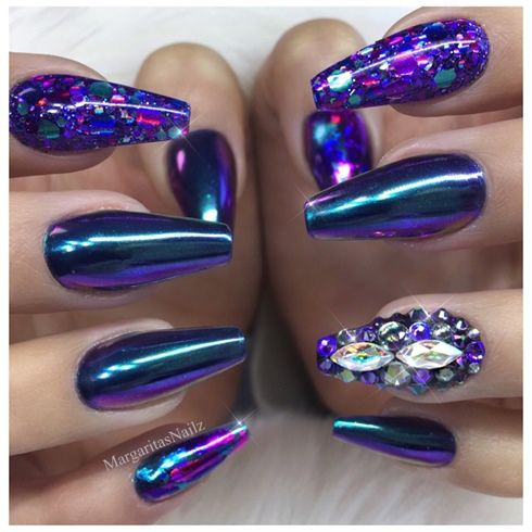 Blue Purple Chrome Coffin Nails  by MargaritasNailz from Nail Art Gallery