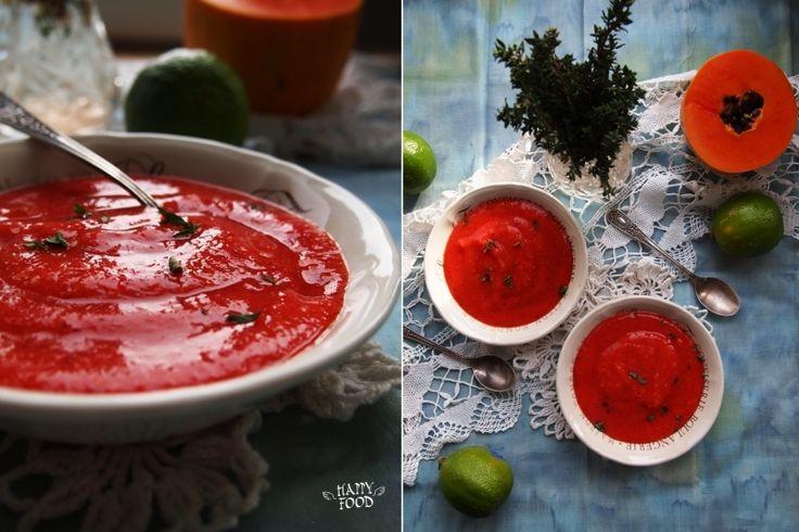 Десертный суп из папайи и клубники