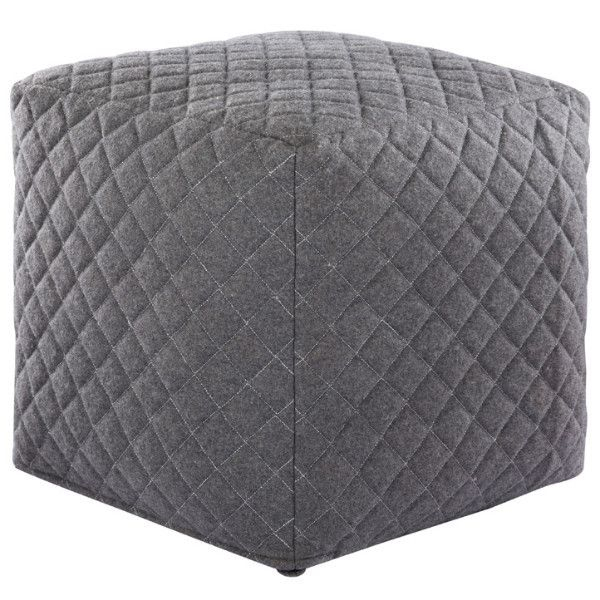 Quilted Cube Ottoman Grey New Room Pouf Ottoman