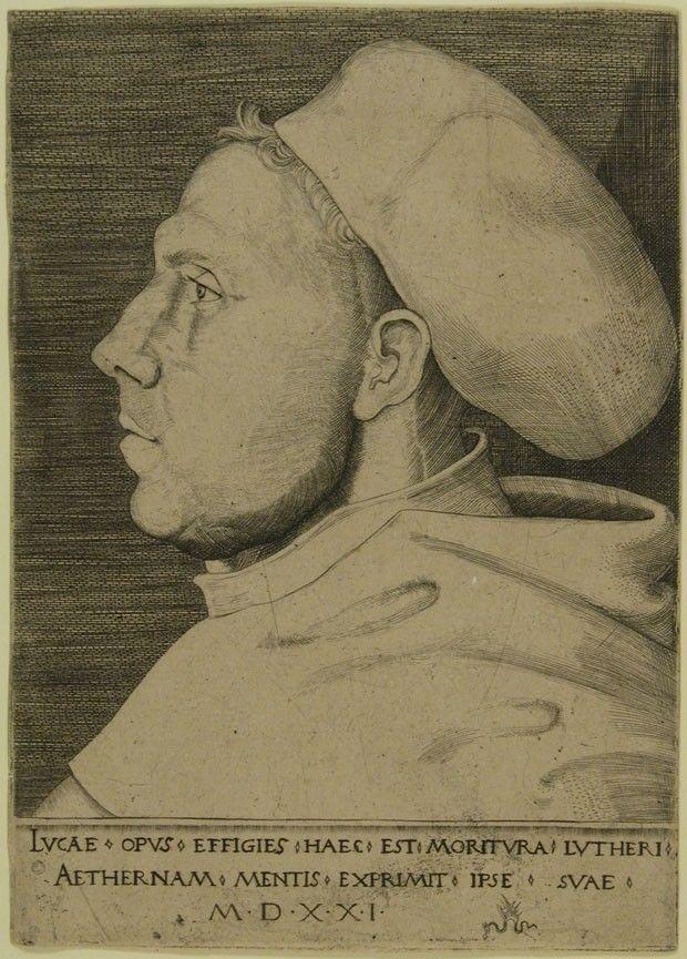 Retrato de Martinho Lutero com hábito de frei agostiniano, sem data, Lucas Cranach,