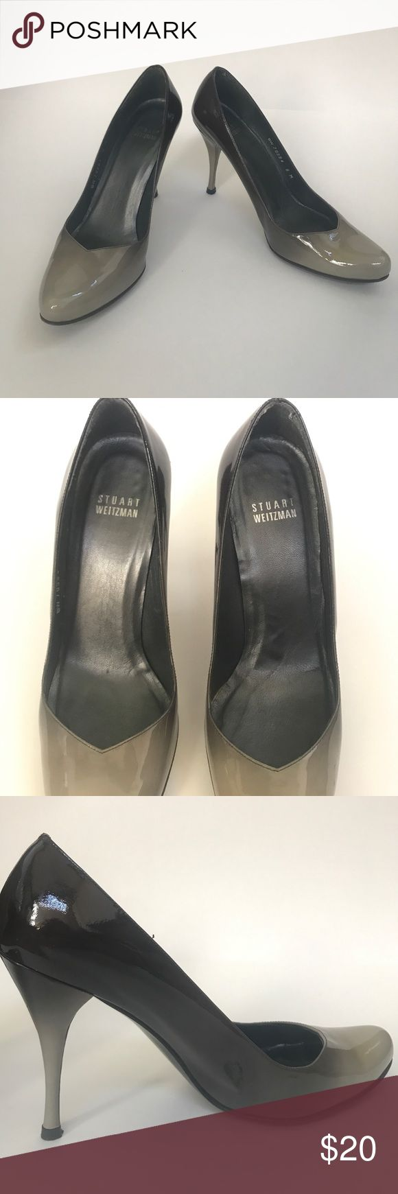 Stuart Weitzman Two Tone Pumps (Worn) These are Stuart Weitzman Two Tone Pumps (Worn). Worn once. There are discolorations (I believe it was from pressing against other shoes in closet) on the left heel as seen in pics. Patent leather. Made in Spain. If you don't mind the discolorations/flaws I say this is a good buy. The two tone color is gorgeous! Stuart Weitzman Shoes Heels