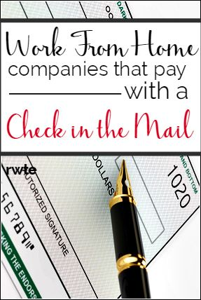 Here's a list of many companies that hire you to work from home and will also pay you via old-fashioned check in the mail! This is great if you're someone who doesn't like Paypal and would prefer a paper check over direct deposit.