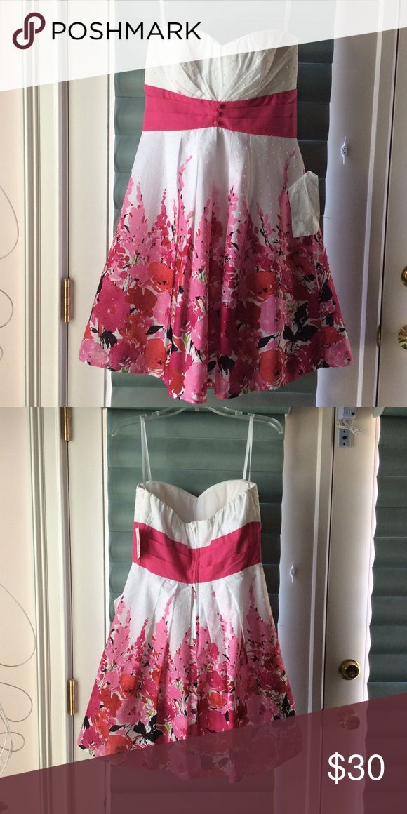 B.Smart Junior Sun Dress 100% Cotton Junior Size 9, White and Pink ,Spaghetti Strap Sundress with attached tule slip for a fuller look B.SMART Dresses