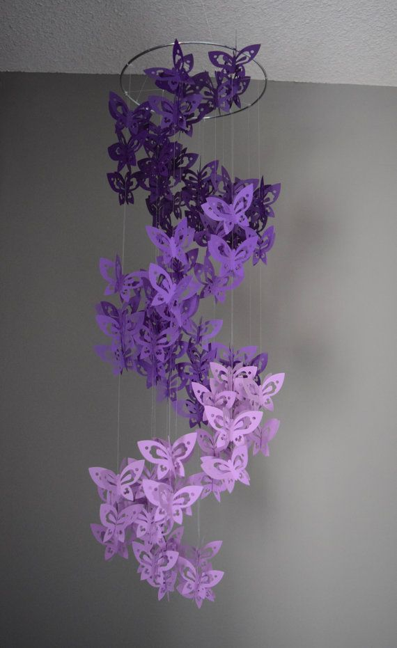 Spiral Paper Butterfly Mobile Chandelier in by TrueLoveAndPaper