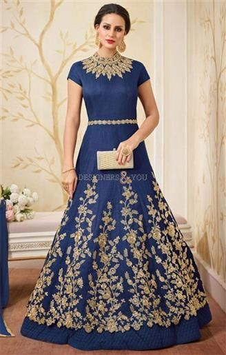 Bewitching Cobalt Blue Designer Indian Party Wear Gown Online  #DesignersAndYou #Gown #Anarkali #Suit #Designer #IndianGown #HeavyGowns