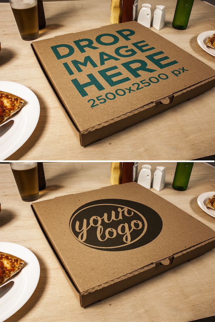 Template of a Closed Pizza Box on a Table