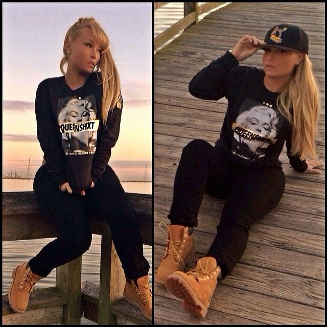 White Girl swag pretty blonde hair color Updo makeup street style Marilyn Monroe black hoody  tims my style