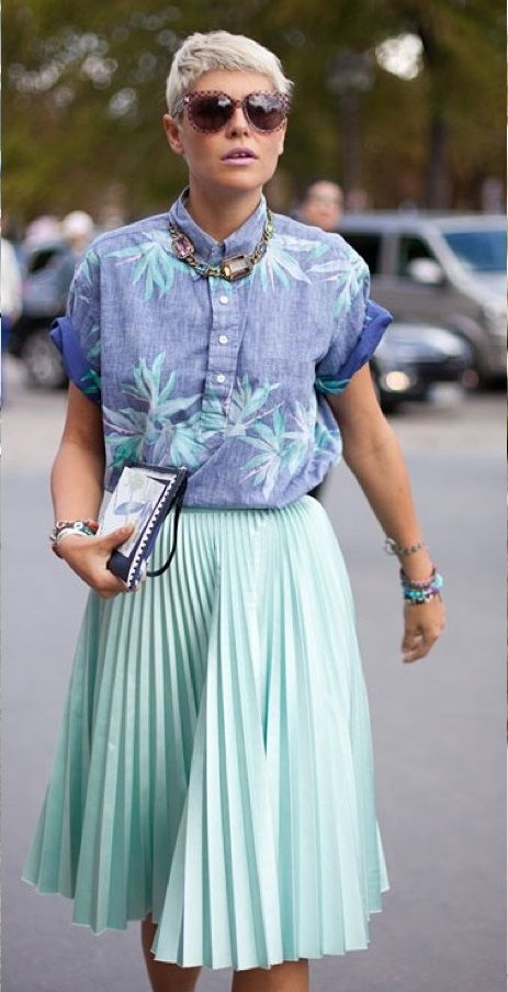 #vintage style #modern vintage #pleated skirt #tropical skirt #chunky jewelry #street style