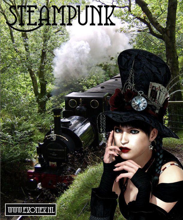 steampunk meisje met hoge hoed klok rozen kaarten met trein achtergrond 3.jpg
