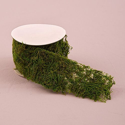 Roll of Faux Moss Ribbon Bringing the outdoors inside when having a woodland themed wedding has never been easier with the addition of faux moss. These rolls of faux moss ribbon will add authenticity