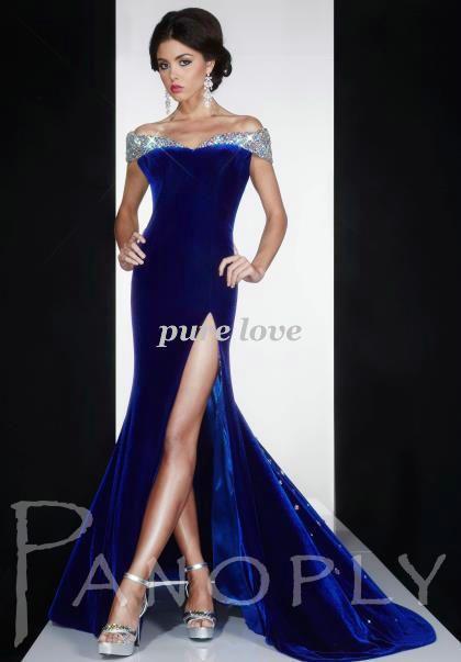 2014 Hot Sale Elegant Long Spandex Strech Fabric Off the Shoulder Royal Sheath V-neck Backless Slit Side Tail Prom Party Dress  $159.00