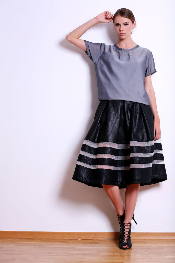 Black Brocade Skirt with Transparent Insertions