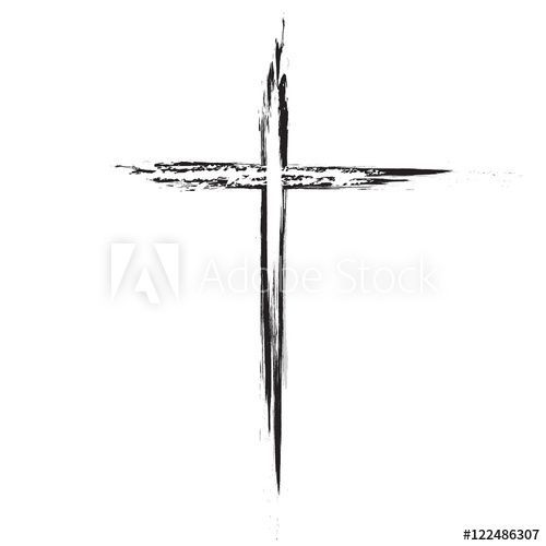 Hand drawn black grunge cross icon, simple Christian cross sign, hand-painted cross –  – #smalltattoos