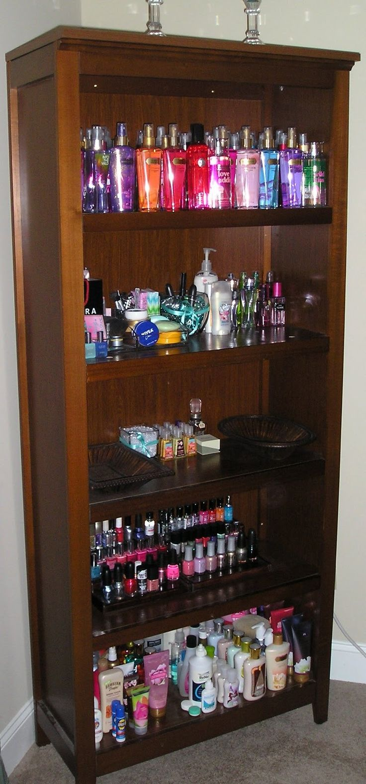 Would be great idea, with white or black shelf. could put nail polish (on stair step spice rack), lotions, extra shampoo, extra conditioner, make up in plastic drawers, deoderant, etc. pretty much my bathroom stock pile. . . . . . Makeup Table, Storage, and Collection | Glamorous Addiction