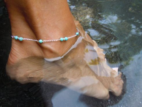 Silver Chain Ankle Bracelet With Turquoise Beads