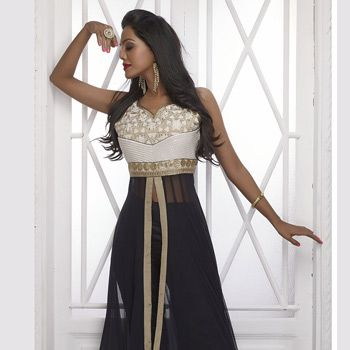 Black Net and Art Silk Readymade Abaya Style Kameez with Straight Pant