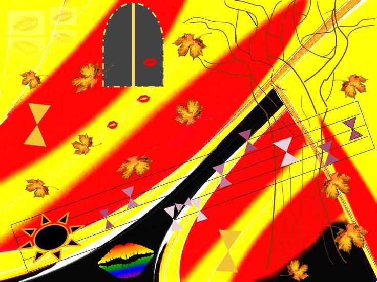 """Ejercicio 2. Título: Otoño. Realizado con google dibujo, inspirado en la canción """"Las hojas muertas"""" de Nat King Cole. Su ritmo es cromático transmitiendo el mensaje claro de la música. Con sus formas he querido identificar partes de la letra, siendo dulce en sus curvas para representar el amor y a su vez figuras rectilíneas para identificar el sentimiento de tristeza y rigidez, aportando imágenes ilustrativas de su título.  https://www.youtube.com/watch?v=vd0t-5g7ht8"""