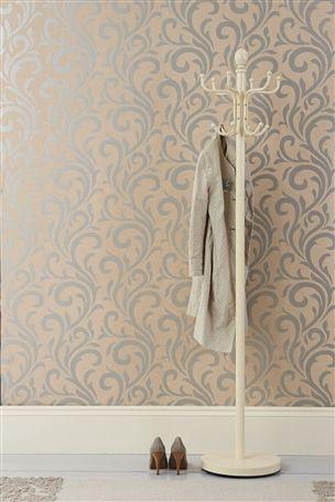 Natural Metallic Scroll Wallpaper
