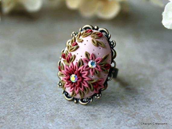 Pretty Polymer Clay Floral Applique Ring in Vintage Rose Pink Tones and Olive with Shimmering Crystals