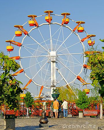 A view with vintage ferris wheel