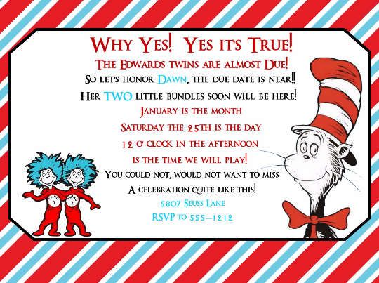 Dr Seuss Thing 1 and 2 Twins Baby Shower Invitations